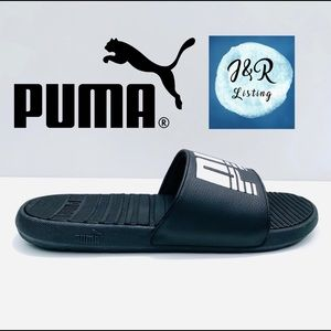 PUMA Cool Cat Men's Black & White Slides Size 11